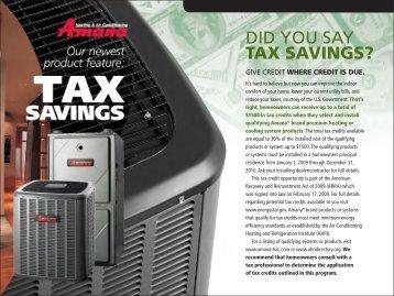 Amana Tax Savings Page 1 - Amana HAC