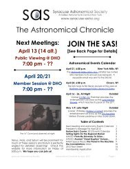 SAS Newsletter For April 2012 - Syracuse Astronomical Society