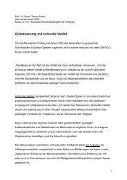 Globalisierung und kulturelle Vielfalt. Ein Vortrag.