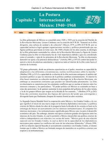Capítulo€2.€La Postura Internacional de México: 1940-1968