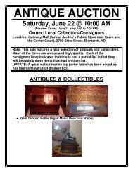 ANTIQUE AUCTION Saturday, June 22 @ 10:00 AM - North Star ...