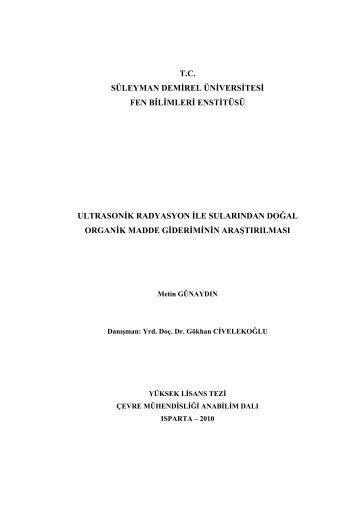 tc süleyman demirel üniversitesi fen bilimleri enstitüsü ultrasonik ...
