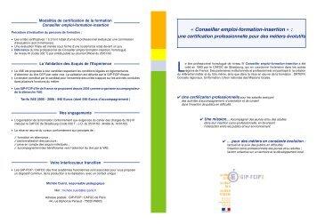 « Conseiller emploi-formation-insertion » : - GIP-FCIP de Paris