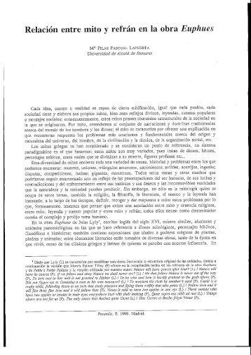 Relación entre mito y refrán en la obra Euphues - Paremia.org