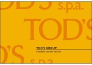 FY 2010 Group's results - Tod's Spa