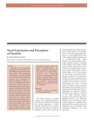 Vocal Expression and Perception of Emotion - The University of ...