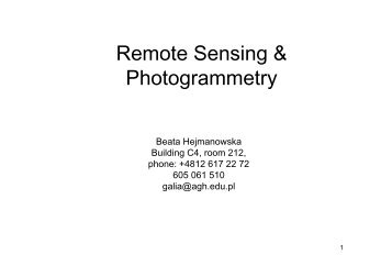 Remote Sensing & Photogrammetry - AGH