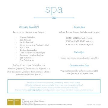 Tarifas del spa - Barcelo.com