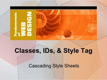 Classes, IDs, & Style Tag - Elktech.org