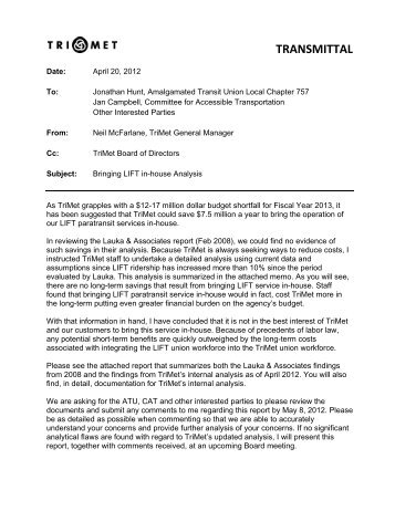 2012 analysis - TriMet News