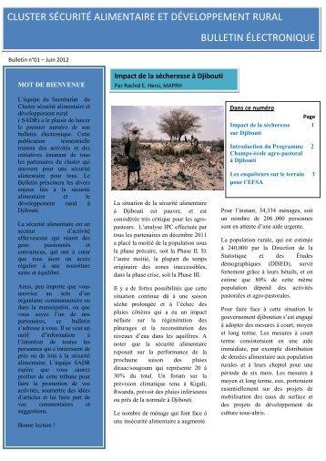 cluster sécurité alimentaire et développement rural bulletin ... - FAO