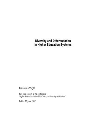 Diversity and Differentiation in Higher Education Systems
