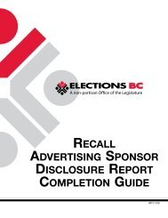 Recall Advertising Sponsor Disclosure Report ... - Elections BC