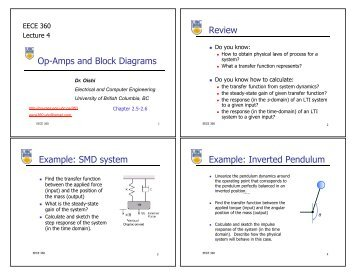 Op-Amps and Block Diagrams Review Example: SMD system ...