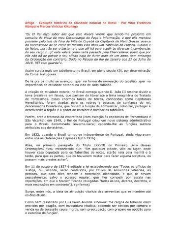 Artigo - Evolução histórica da atividade notarial no Brasil ... - Recivil