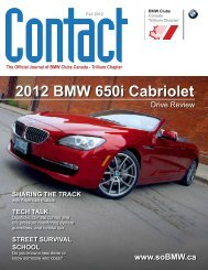 CONTACT - Fall 2012 - BMW Club of Canada, Trillium Chapter