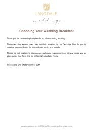 Menu and Drinks options - The Langdale