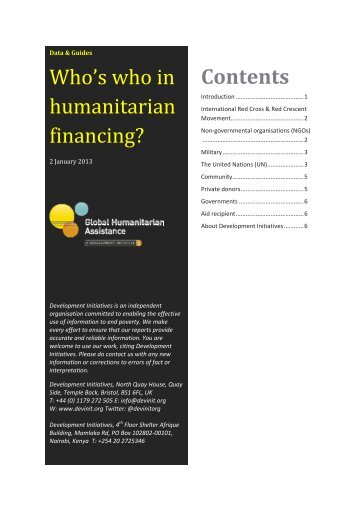 Contents Who's who in humanitarian financing? - Global ...