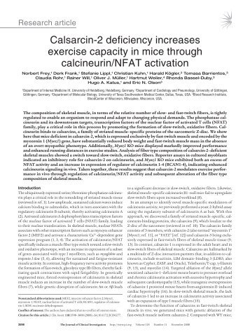 Calsarcin-2 deficiency increases exercise capacity in mice through ...