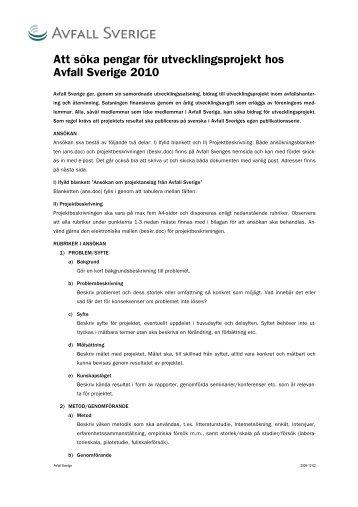 Att söka pengar för utvecklingsprojekt hos Avfall Sverige 2010