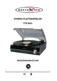 stereo plattenspieler ttr 8631 bedienungsanleitung - Reflexion