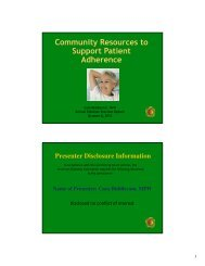Community Resources to Support Patient Adherence - American ...