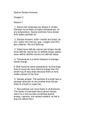 Section Review Answers Chapter 3 Section 1 1. Atoms and ...