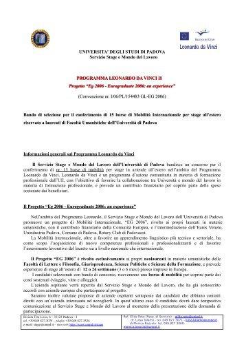 DEGLI STUDI DI PADOVA Servizio Stage e Mondo del Lavoro ...