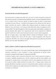 i ritardi nei pagamenti: la nuova direttiva - Consiglio regionale del ...