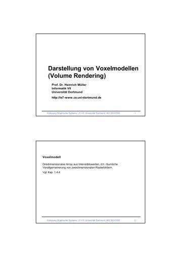 Darstellung von Voxelmodellen (Volume Rendering) - Informatik VII