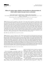 Effect of various sugar solution concentrations on characteristics of ...