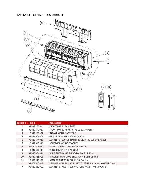 Asu12rlf Parts List - Fujitsu General