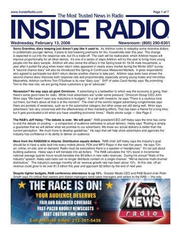 Wednesday, February 13, 2008 Newsroom: (800) 290-6301