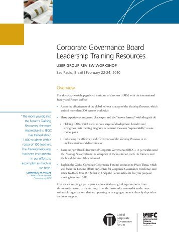 Corporate Governance Board Leadership Training Resources User ...