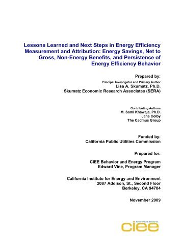 Lessons Learned and Next Steps in Energy Efficiency Measurement ...