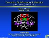 Genomics, Bioinformatics & Medicine - Cmgm Stanford - Stanford ...