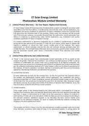 ET Solar Group Limited - Wholesale Solar