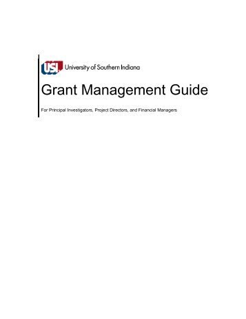 Grant Management Guide - University of Southern Indiana