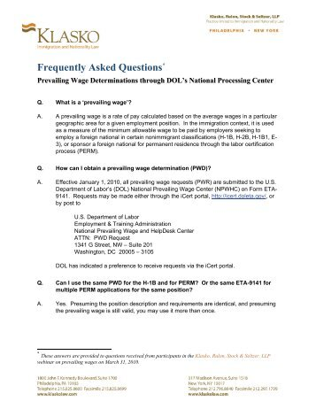 Application for Prevailing Wage Determination ETA Form 9141 U.S. ...