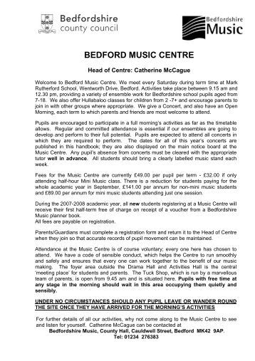 BEDFORD MUSIC CENTRE - Bedfordshire County Council