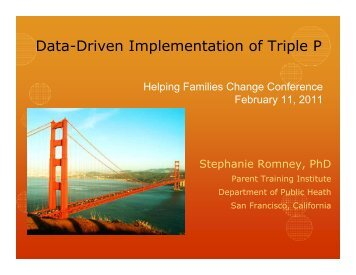 Data-Driven Implementation of Triple P - Parent Training Institute-SF