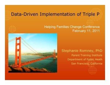 Data-Driven Implementation of Triple P - Parent Training Institute-SF