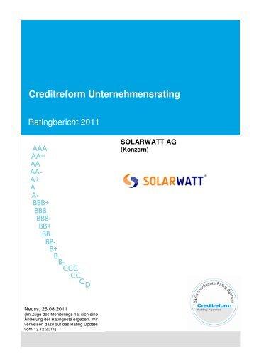 Ratingbericht August 2011 - Solarwatt