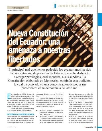 Nueva Constitución del Ecuador: una amenaza a nuestras libertades