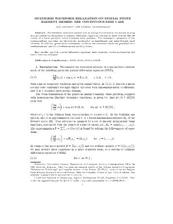multigrid waveform relaxation on spatial finite element ... - Docweb