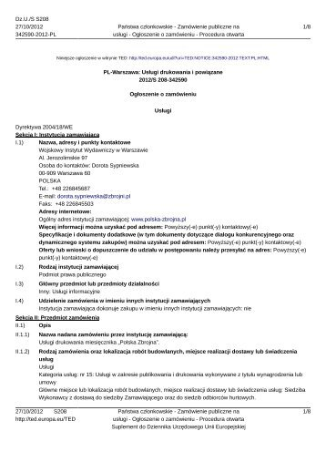 PL-Warszawa: Usługi drukowania i powiązane - Polska Zbrojna
