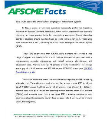 The Truth about the Ohio School Employees' Retirement ... - AFSCME