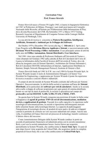 Curriculum Vitae Prof. Franco Sirovich Franco Sirovich nasce a ...