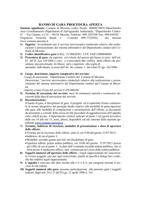 BANDO DI GARA PROCEDURA APERTA - Comune di Messina