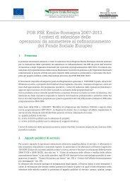 Criteri di selezione - Fondi Europei 2007-2013